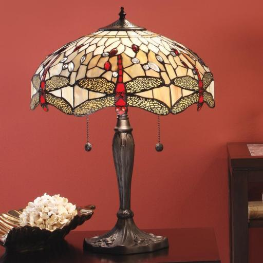 Dragonfly Beige Large Table Lamp - Interiors 1900 Tiffany Light