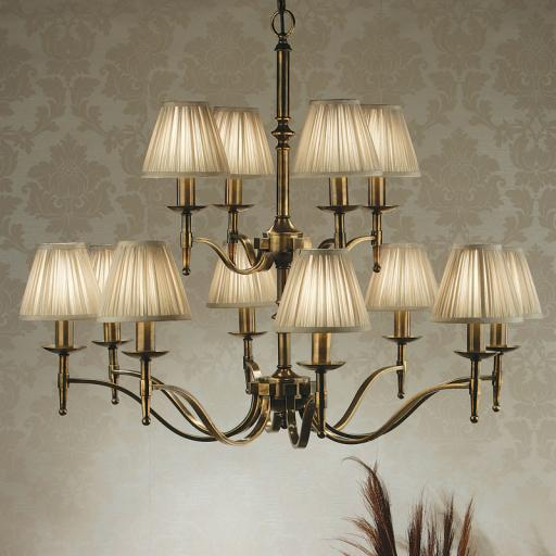 Stanford Brass 12 Light Chandelier Beige Shades - New Classics Interiors 1900 Lighting