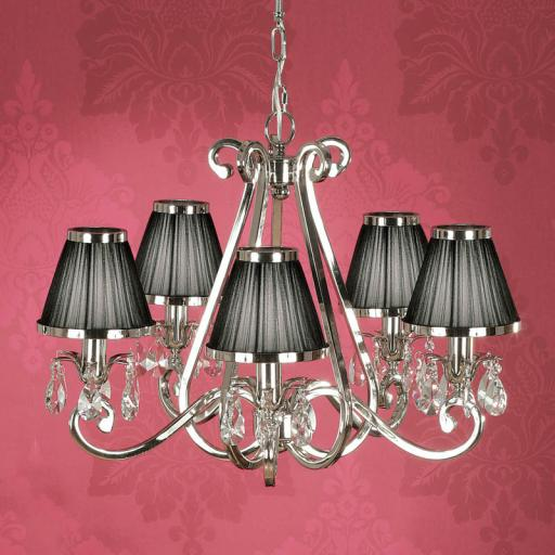 Oksana Nickel 5 Light Chandelier with Black Shades - New Classics Interiors 1900