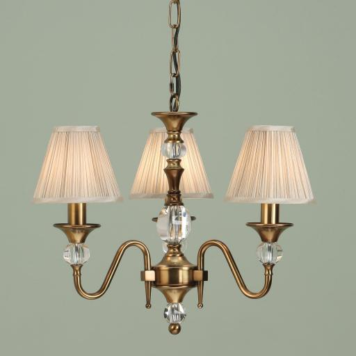 Polina Brass 3 Light Chandelier Beige Shades - New Classics Interiors 1900 Lighting
