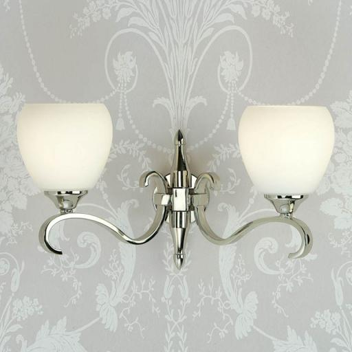 Columbia Nickel Double Wall Light Opal Matt Art Glass Shades - New Classics Interiors 1900 Lighting