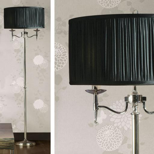 Stanford Nickel Floor Lamp Black Shade - New Classics Interiors 1900 Lighting
