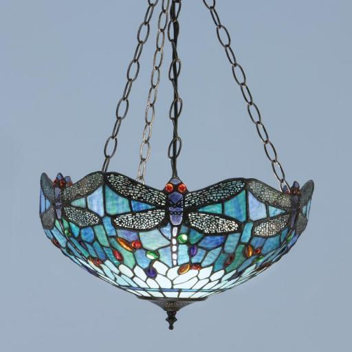 Dragonfly Blue Medium Inverted Pendant - Interiors 1900 Tiffany Light