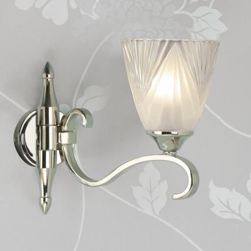 Columbia Nickel Single Wall Light Deco Art Glass Shades - New Classics Interiors 1900 Lighting
