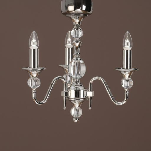 Polina Nickel 3 Light Chandelier - New Classics Interiors 1900 Lighting