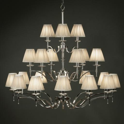 Stanford Nickel 21 Light Chandelier Beige Shades - New Classics Interiors 1900 Lighting