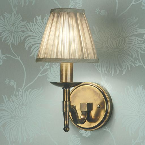Stanford Brass Single Wall Light Beige Shade - New Classics Interiors 1900 Lighting