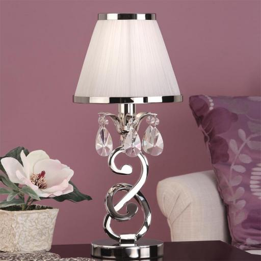 Oksana Nickel Mini Lamp with White Shades - New Classics Interiors 1900 Lighting