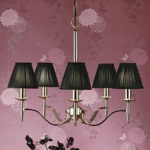 Stanford Nickel 5 Light Chandelier Black Shades - New Classics Interiors 1900 Lighting