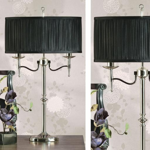 Stanford Nickel Table Lamp Black Shade - New Classics Interiors 1900 Lighting