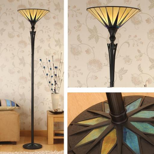 Dark Star Uplighter Floor Lamp - Interiors 1900 Tiffany Light