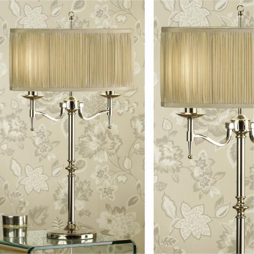 Stanford Nickel Table Lamp Beige Shade - New Classics Interiors 1900 Lighting
