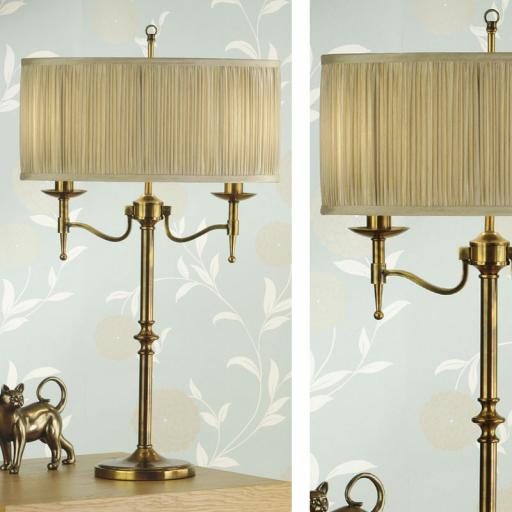 Stanford Brass Table Lamp Beige Shades - New Classics Interiors 1900 Lighting