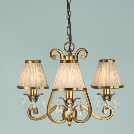 Oksana Brass 3 Light Chandelier with Shades - New Classics Interiors 1900