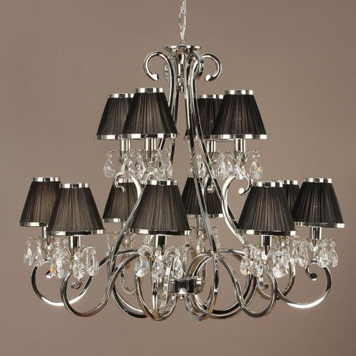 Oksana Nickel 12 Light Chandelier with Black Shades - New Classics Interiors 1900