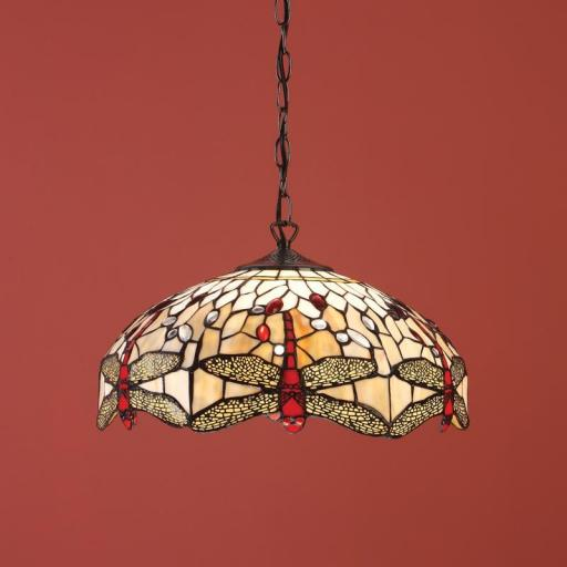 Dragonfly Beige Medium Pendant - Interiors 1900 Tiffany Light