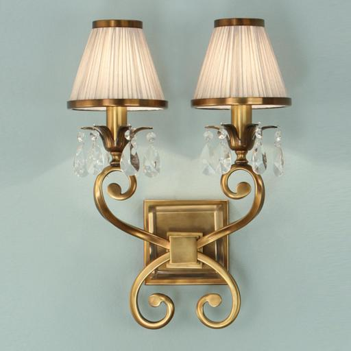 Oksana Brass Double Wall Light with Shades - New Classics Interiors 1900