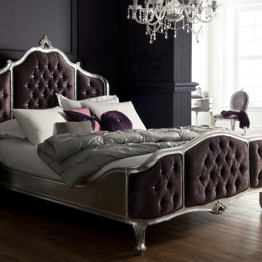 Rococo Silver Leaf Bed Upholstered Panels - Winsor Furniture