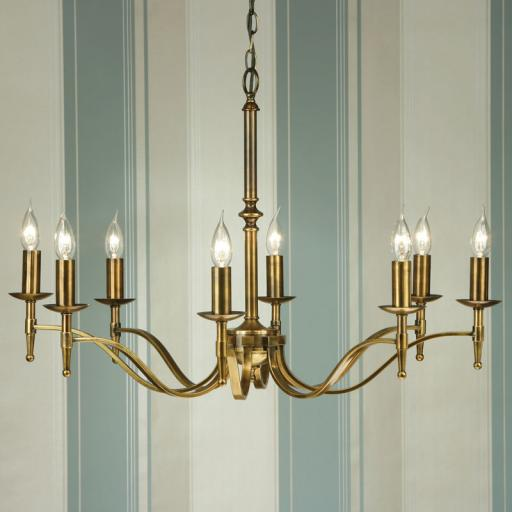 Stanford Brass 8 Light Chandelier - New Classics Interiors 1900 Lighting