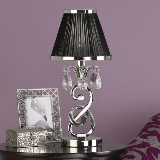 Oksana Nickel Mini Lamp with Black Shade - New Classics Interiors 1900 Lighting