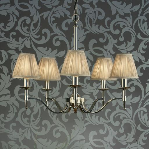 Stanford Nickel 5 Light Chandelier Beige Shades - New Classics Interiors 1900 Lighting