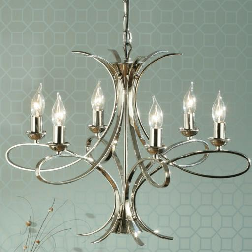 Penn 6 Light Chandelier Nickel - New Classics Interiors 1900 Lighting