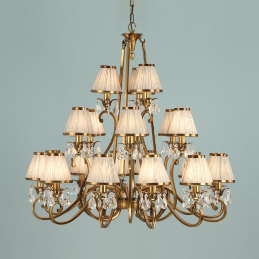 Oksana Brass 21 Light Chandelier with Shades - New Classics Interiors 1900