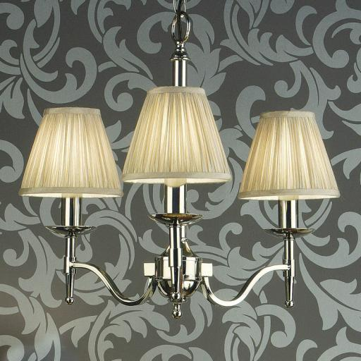 Stanford Nickel 3 Light Chandelier Beige Shades - New Classics Interiors 1900 Lighting