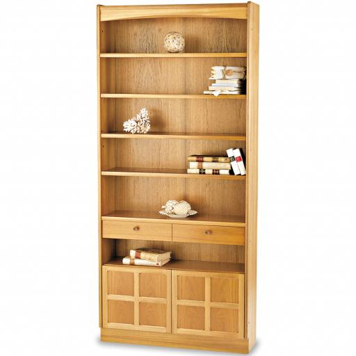 Nathan Furniture 6404 Tall Bookcase with Doors - Classic Teak Range