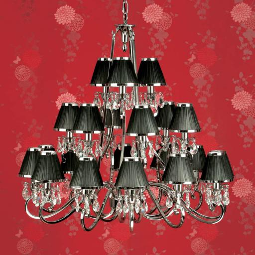 Oksana Nickel 21 Light Chandelier with Black Shades - New Classics Interiors 1900