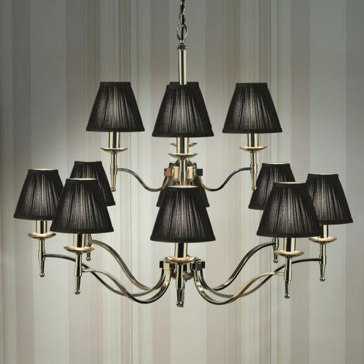 Stanford Nickel 12 Light Chandelier Black Shades - New Classics Interiors 1900 Lighting