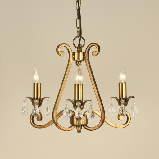 Oksana Brass 3 Light Chandelier - New Classics Interiors 1900