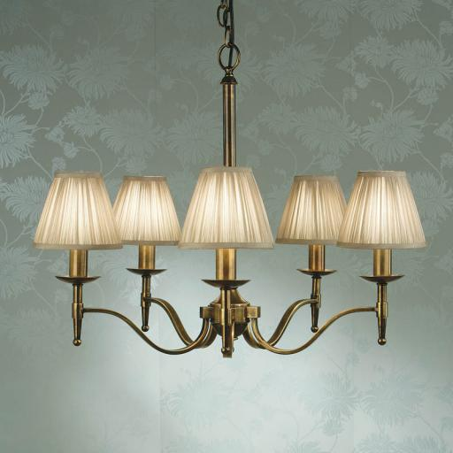 Stanford Brass 5 Light Chandelier Beige Shades - New Classics Interiors 1900 Lighting