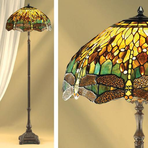 Dragonfly Green Floor Lamp - Interiors 1900 Tiffany Light
