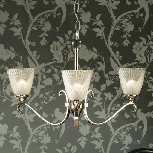 Columbia Nickel 3 Light Chandelier Deco Art Glass Shades - New Classics Interiors 1900 Lighting