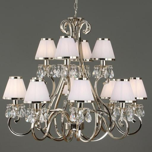 Oksana Nickel 12 Light Chandelier with White Shades - New Classics Interiors 1900