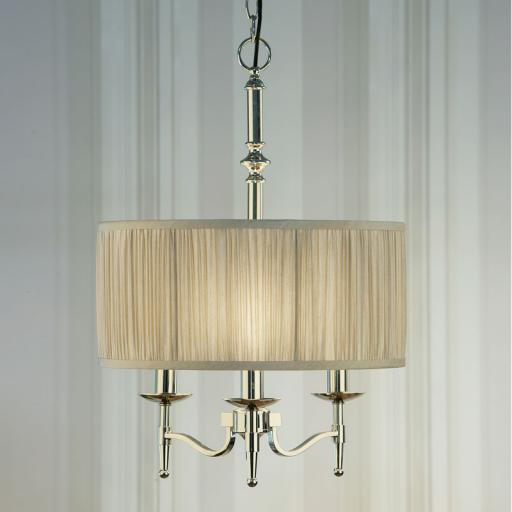 Stanford Nickel Georgetown Pendant Beige Shade - New Classics Interiors 1900 Lighting