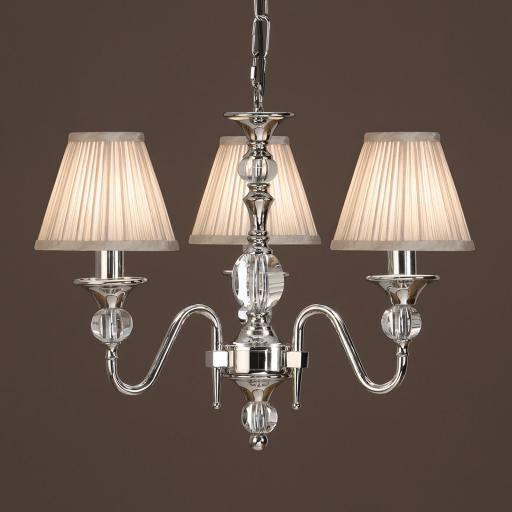 Polina Nickel 3 Light Chandelier Beige - New Classics Interiors 1900