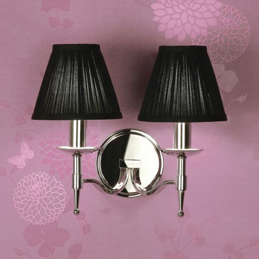 Stanford Nickel Double Wall Light Black Shades - New Classics Interiors 1900 Lighting
