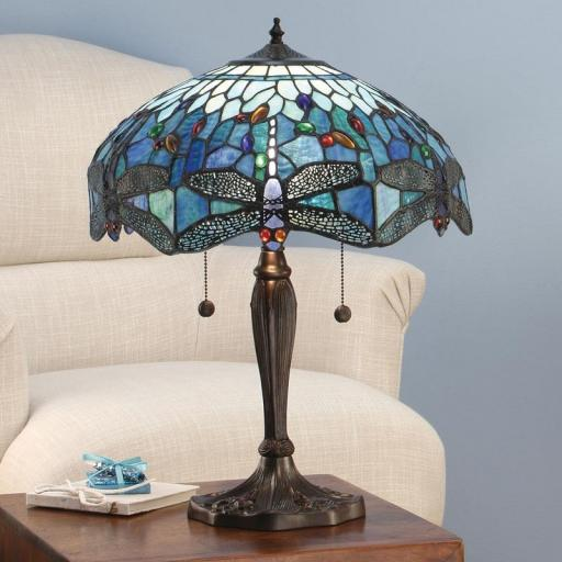 Dragonfly Blue Large Table Lamp - Interiors 1900 Tiffany Light