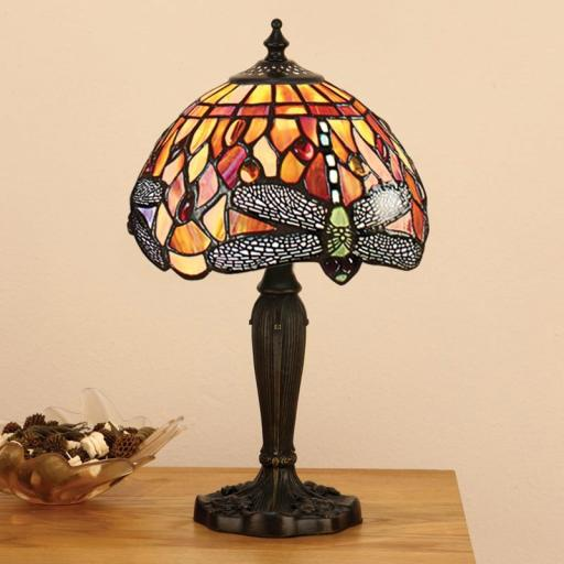 Dragonfly Flame Small Table Lamp - Interiors 1900 Tiffany Light