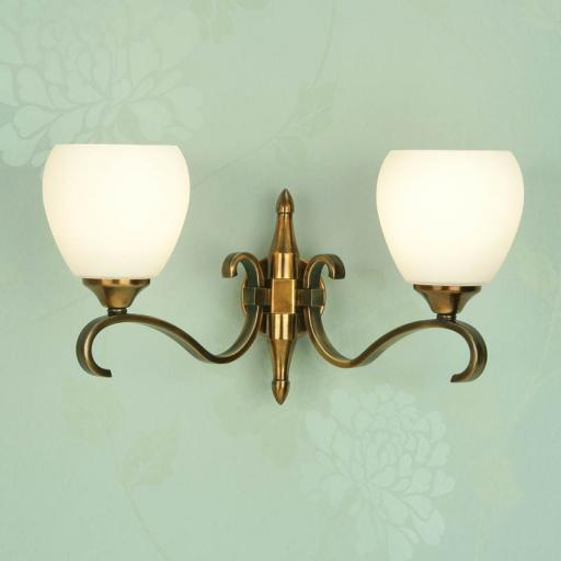 Columbia Brass Double Wall Light Opal Matt Art Glass Shades - New Classics Interiors 1900 Lighting
