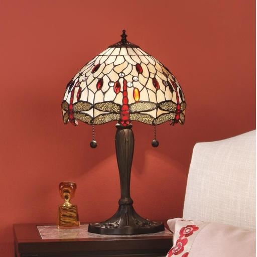 Dragonfly Beige Medium Table Lamp - Interiors 1900 Tiffany Light