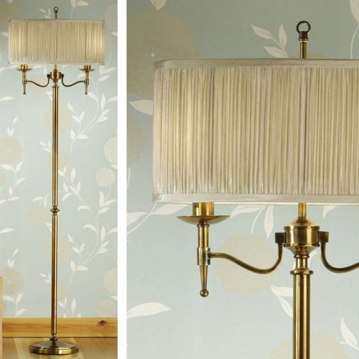 Stanford Brass Floor Lamp Beige Shades - New Classics Interiors 1900 Lighting