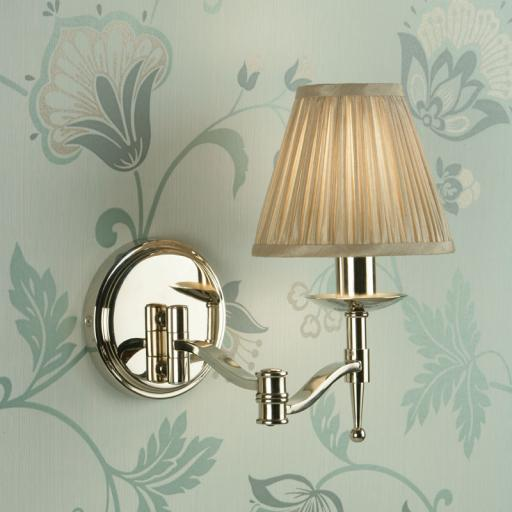 Stanford Nickel Swing Arm Wall Light Beige Shade - New Classics Interiors 1900 Lighting