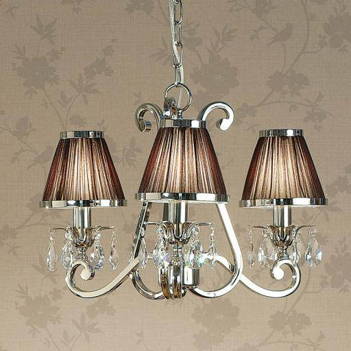 Oksana Nickel 3 Light Chandelier with Chocolate Shades - New Classics Interiors 1900 Lighting