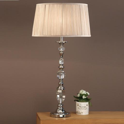 Polina Nickel Large Table Lamp Beige - New Classics Interiors 1900 Lighting