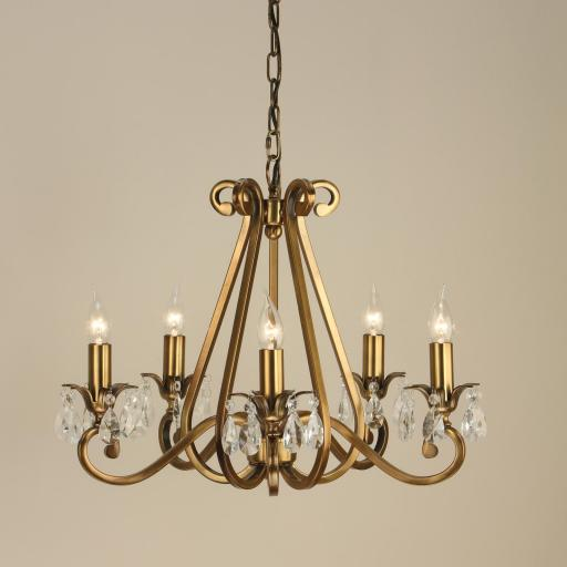 Oksana Brass 5 Light Chandelier - New Classics Interiors 1900