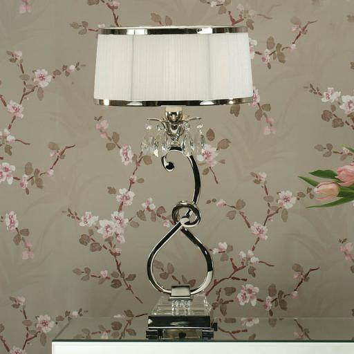 Oksana Nickel Bedside Lamp with White Shades - New Classics Interiors 1900 Lighting