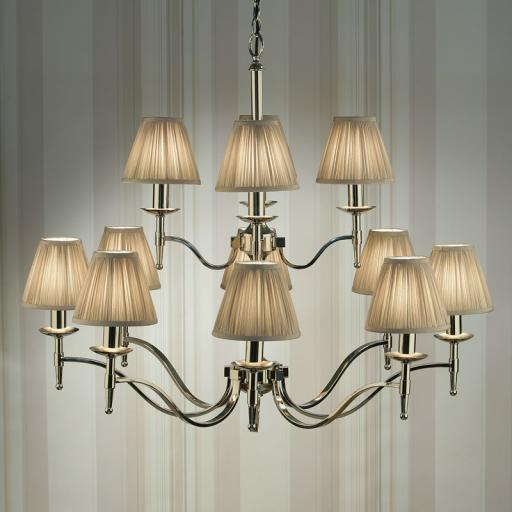 Stanford Nickel 12 Light Chandelier Beige Shades - New Classics Interiors 1900 Lighting